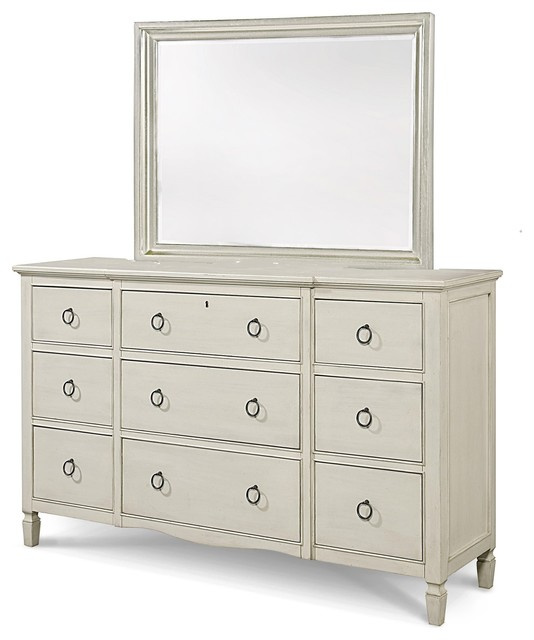 Country Chic Maple Wood 9 Drawer White Dresser With Mirror