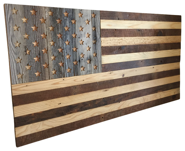 Reclaimed Wood American Flag wall-sculptures - Reclaimed Wood American Flag - Wall Sculptures - By Simple Roots