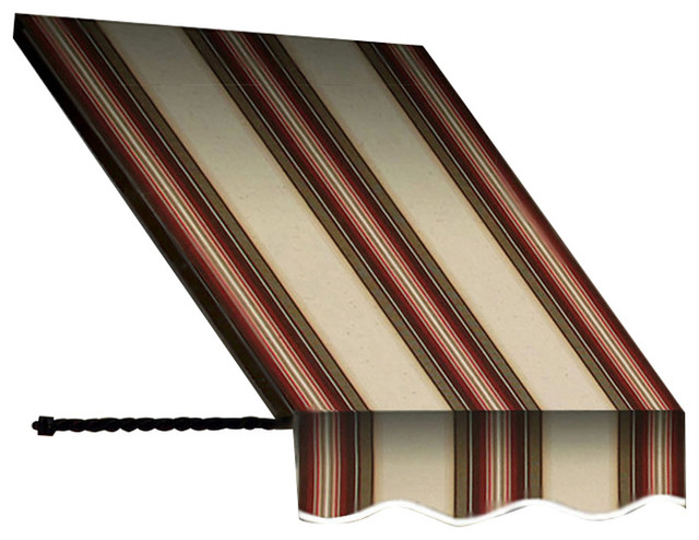 """6&x27; Santa Fe Twisted Rope Arm Window/entry Awning, 31"""" Hx12"""" D, Brown/terra Cotta."""