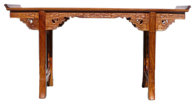 Chinese Yellow Rosewood Ru Yi Dragon Long Altar Console Table Asian Console  Tables
