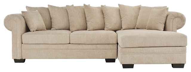 Modern Large Family Linen Fabric L-Shape Sectional Sofa, Beige.