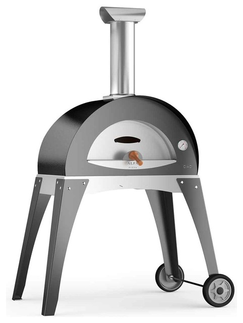 """Ciao M 27"""" Wood Fired Pizza Oven on Base, Silver Gray"""
