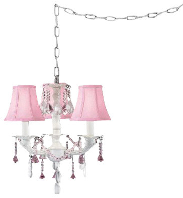 pretty in pink swag style plugin mini chandelier