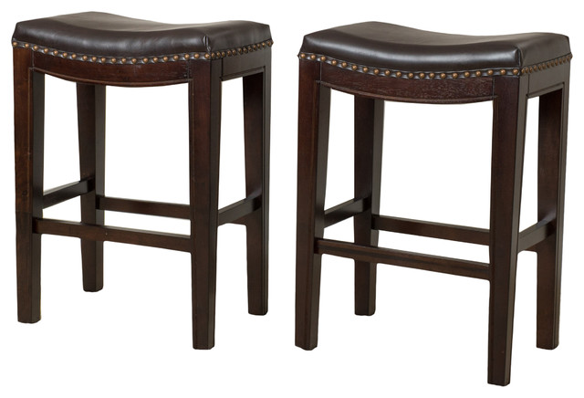 Jaeden Backless Stools Set Of 2 Transitional Bar Stools And Counter Stools By Gdfstudio