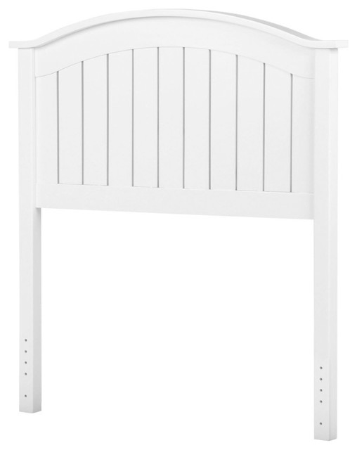 Finley Wooden Headboard Panel With Curved Top Rail Design, White.