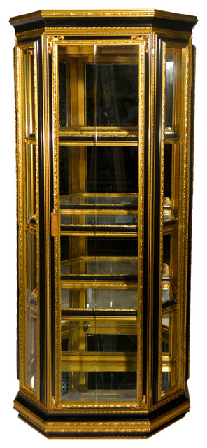 Black And Gold Hexagonal Curio Cabinet