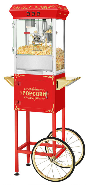 Movie Night Popcorn Machine With Cart by Superior Popcorn Co., Red