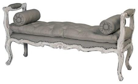 "Guildmaster 659010vcb Queen Anne 61"" Wide Linen Bench, White."