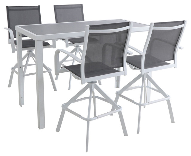 Naples 5 Piece Outdoor High Dining Set, Outdoor Bar Top Dining Table