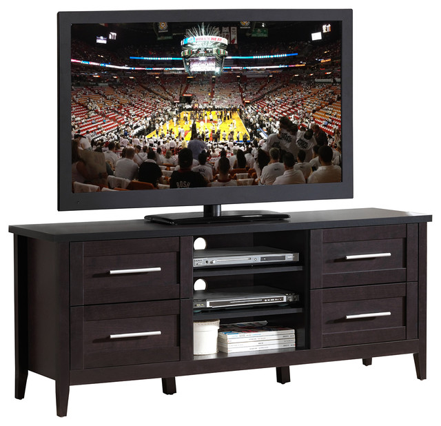 "Techni Mobili Elegant Tv Stand With Storage For Tvs Up To 70"", Color, Espresso."
