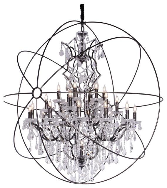 "MN Crystal Orb Chandelier, Black, 60"" Diameter / 25 Light"