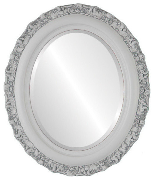 Venice Framed Oval Mirror in Linen White, 17x21 by The Oval & Round Mirror Store