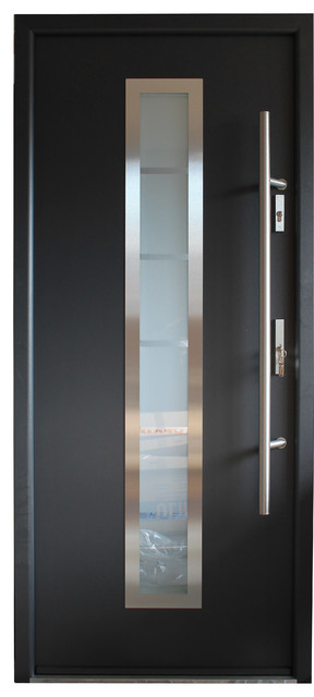 Stainless Steel Modern Entry Door Gray Finish