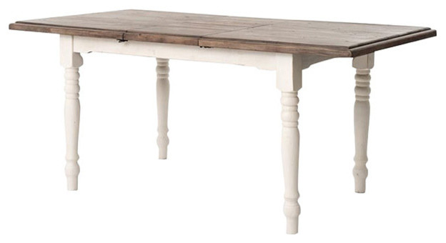 Elwin Modern Classic Reclaimed Wood Whitewash Adjustable Dining - White wash dining table