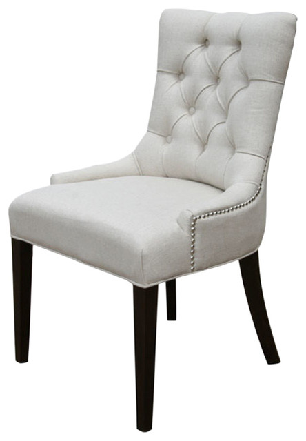 Beau Accent Tufted Fabric Chair With Silver Nailhead, Neutral