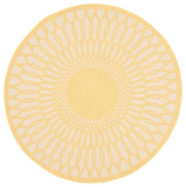 """Safavieh Alaca Indoor Outdoor Rug Yellow Beige 5 3""""x5 3"""