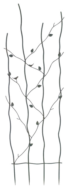 60 High Metal Garden Trellis With Climbing Vine Leaf Design.