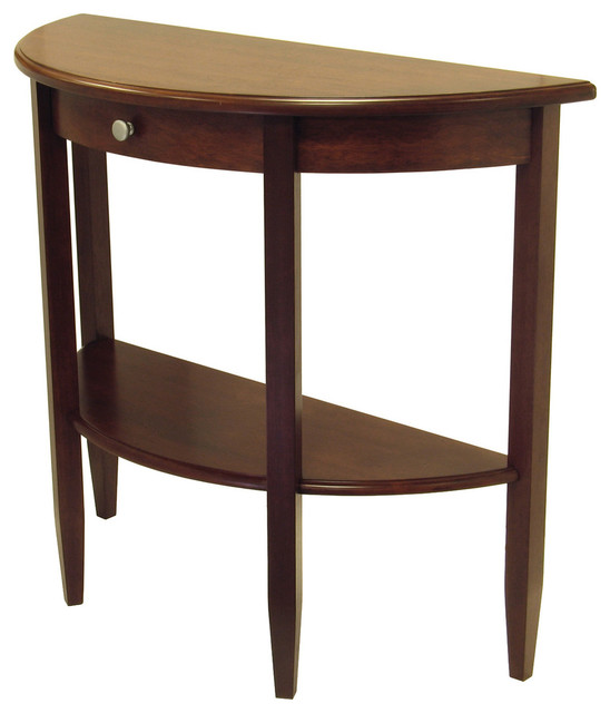 winsome concord hall and console table half moon with drawer shelf console