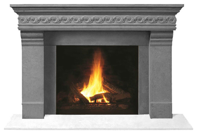Fireplace Stone Mantel 1110s.556 With Filler Panels, Gray, No Hearth Pad.