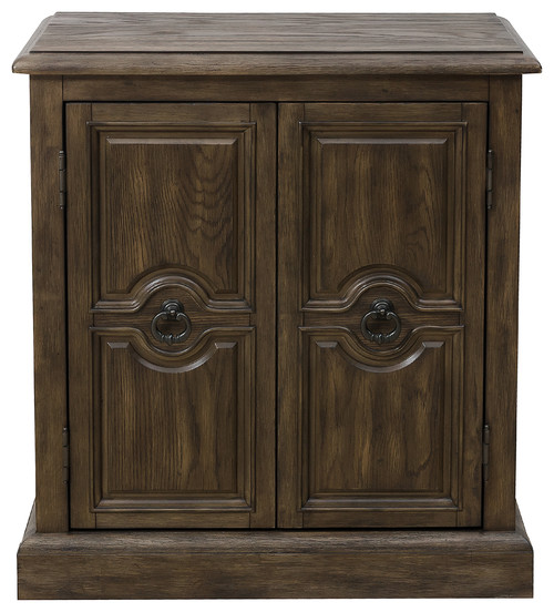 2-Door Carved Accent Chest, Oak Brown