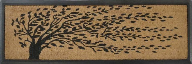 Falling Leaves Rubber And Coir Double Doormat Contemporary Doormats