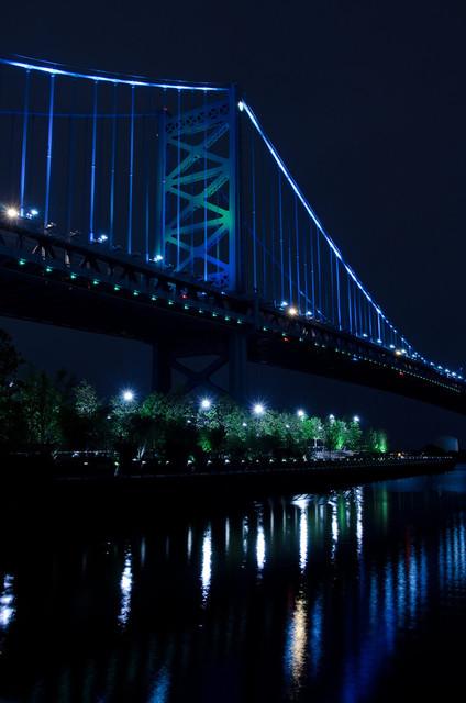The Ben Franklin Bridge 3 Night Urban Landscape Photo Unframed Wall Art Print, 2
