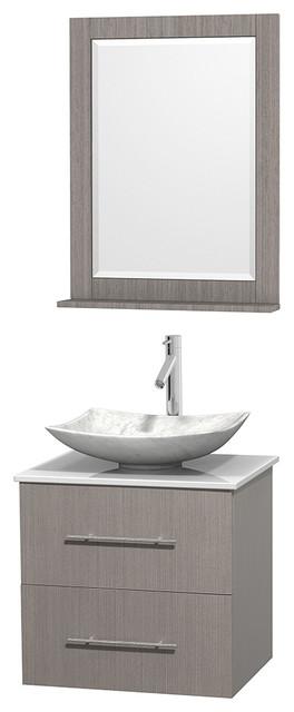 "Centra 24"" Gray Oak Vanity, White Stone Top, 24"" Mirror, Arista Carrera Marble."