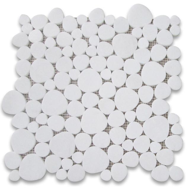 "12""x12"" Thassos White Heart Shaped Bubble Mosaic Tile Polished."