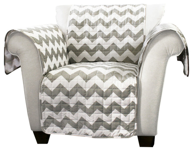 Chevron Furniture Protectors Gray and White Armchair Armchairs