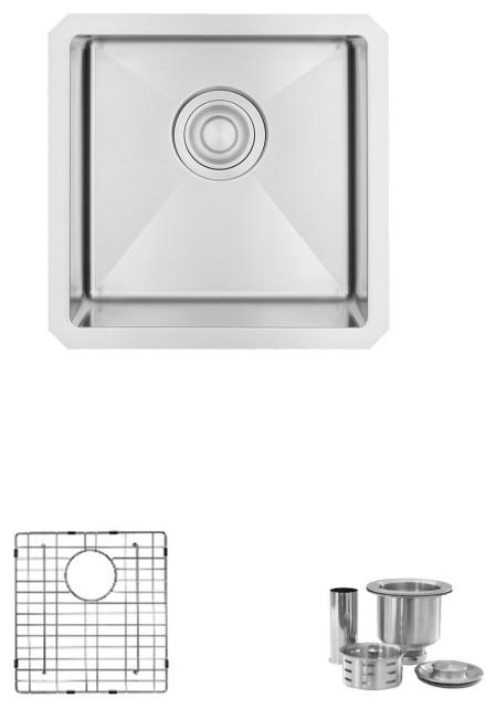 "STYLISH 15""L x 15""W Stainless Steel Single Basin Undermount Bar Sink with Grid"