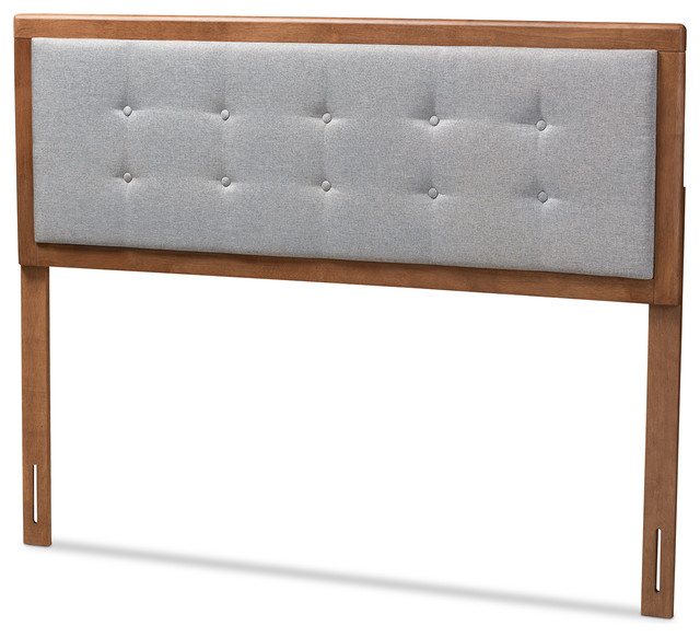 Everleigh Light Gray Fabric Upholstered Walnut Brown Wood King Headboard