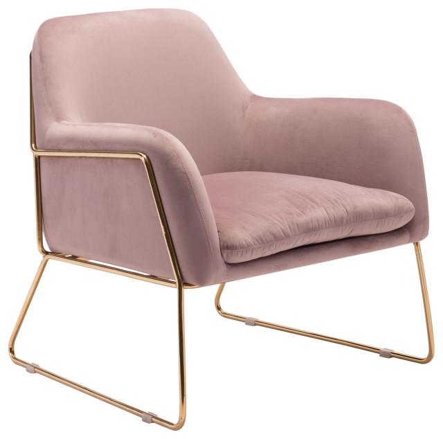 Modern Cushion Lounge Armchair, Gold Frame, Pink Velvet