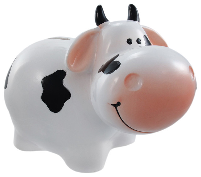 holstein dairy cow piggy bank milk coin small