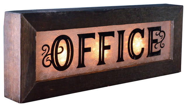 Vintage Style Lighted Glass Office Sign