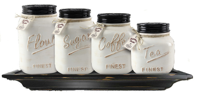 Bronze Kitchen Canisters >> Ceramic Canisters, Set of 4 - Farmhouse - Kitchen Canisters And Jars - by ZallZo LLC
