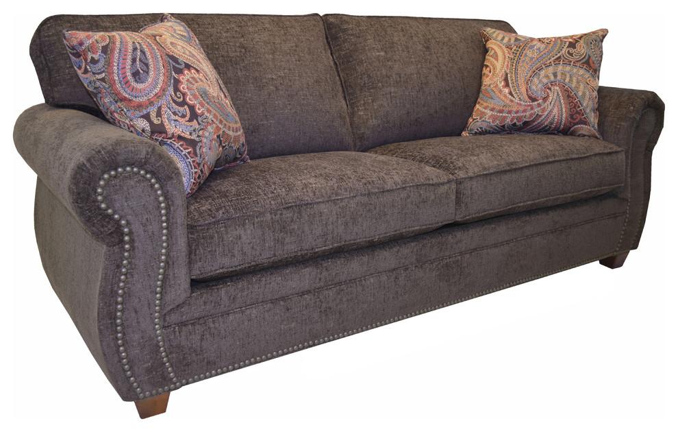 Georgina Brown Fabric Sofa with Nailhead Trim