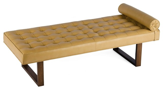 Retro Modern Tufted Leather Daybed Lounge Chaise Bench