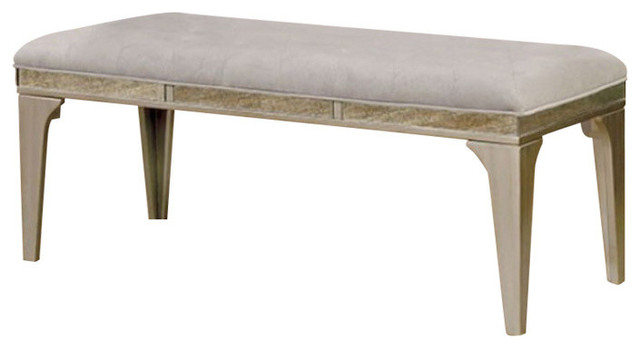 Wooden Bench With Comfy Cushioned Seat Gray.