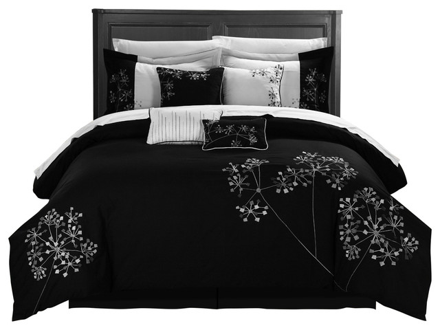 12 Piece Pink Fl And White Comforter Bed In A Bag Set Black