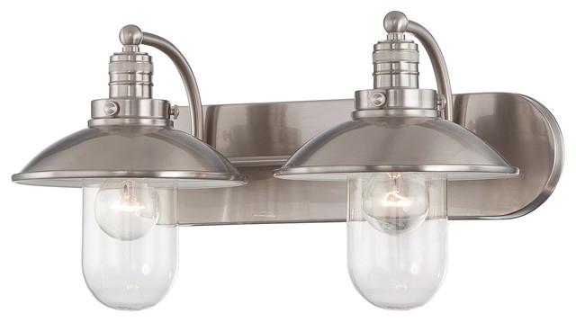 Downtown Edison Light Bathroom Vanity Lights Brushed Nickel - 2 light bathroom vanity lights