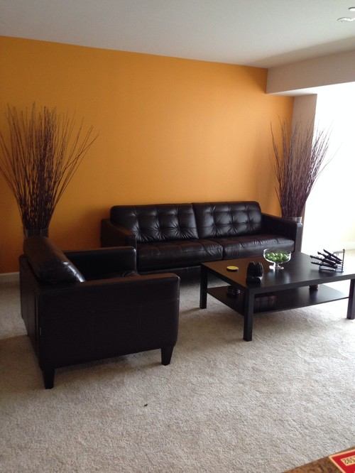 Need help decorating this living room..chocolate leather furniture and