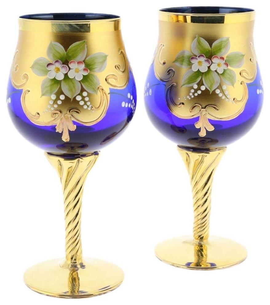 Murano Glass Wine Glass Set 24K Gold Leaf, Blue