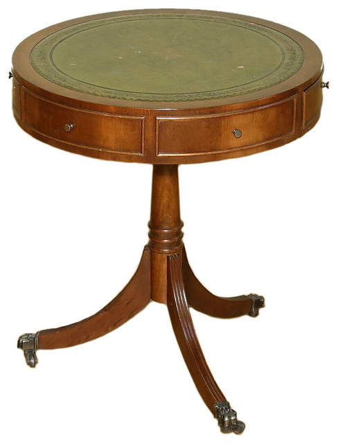 Consigned vintage yew wood leather top round occasional accent coffee drumtable traditional Traditional coffee tables and end tables