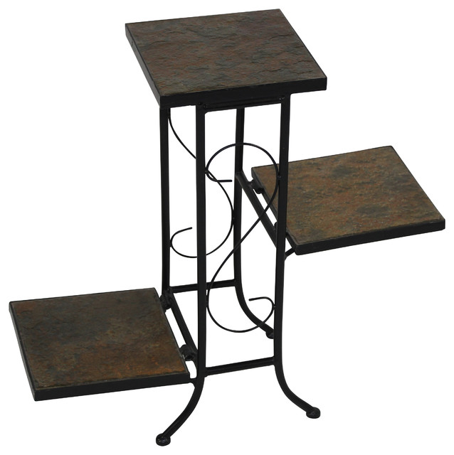 3 Tier Plant Stand With Slate Top, Black Metal