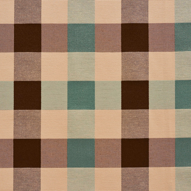 Teal Cream Brown Large 4 Color Check Faux Silk