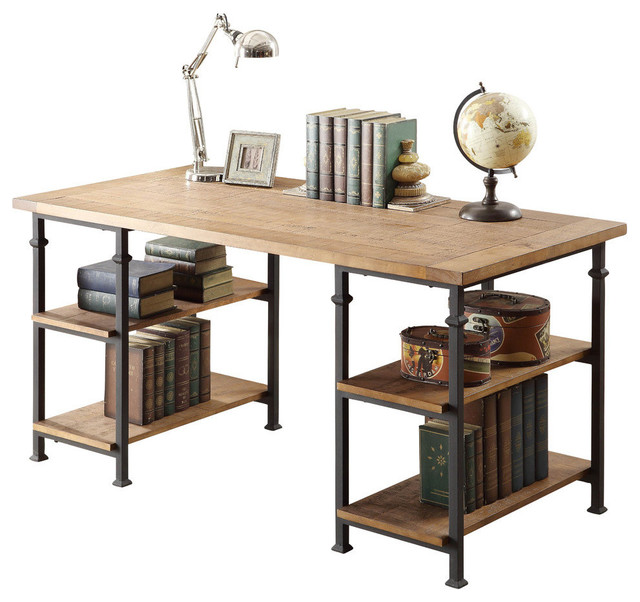 Homelegance Factory Writing Desk in Rustic Oak Desks And Hutches