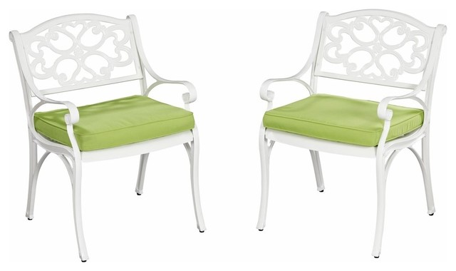 Biscayne Outdoor Armchairs With Cushions, Set Of 2, White.