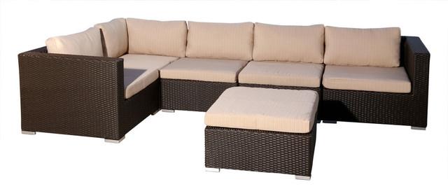 Pleasant Abbyson Living Newport Outdoor Espresso Brown Wicker 6 Piece Sectional Alphanode Cool Chair Designs And Ideas Alphanodeonline