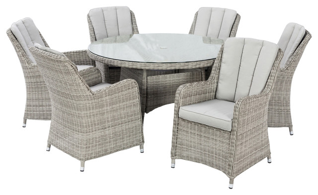 Oxford Outdoor Dining Set With Integrated Ice Bucket, 7 Piece