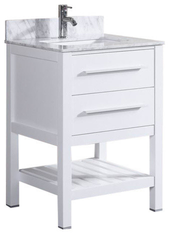Bath Vanity With Marble Top And Backsplash, White, Single Hole Sink Top,
